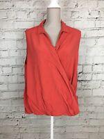 Womens PEACOCKS Orange Sleeveless Side Wrap Smart Top Blouse Size 18
