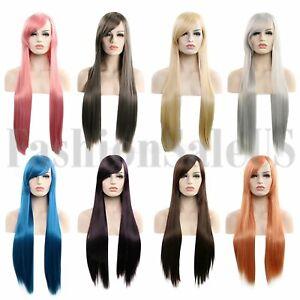 31'' Women Long Straight Hair Full Wig Heat Resistant Synthetic Hair Wigs Custom