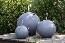 79485 Öllampe Globe aus Magnesia grau gewischt mit natürlicher Oberfläche D.30cm