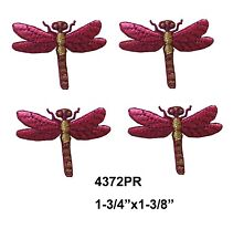 #4372PR Lot 4Pcs Violet Dragonfly Embroidery Iron On Applique Patch