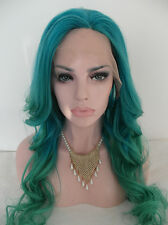 26 Inch Loose Wavy Blue to Green Human Hair Ombre Lace Front Wigs