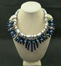 Unique Beautiful Large Steal and Rope Design Necklace Blue Tones with Gold Tone