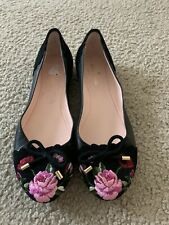 KATE SPADE NY WILTON SUEDE/LEATHER FLORAL EMBROIDERED FLAT SHOES NWOB SIZE 6.5