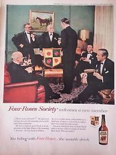 1952 Four Roe Whiskey Society Men in Suits Original Print Ad