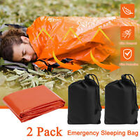 2 Pack Single Emergency Sleeping Bag Outdoor Survival For Camping Hiking Travel
