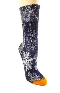 Damen Mädchen Socken Strümpfe eyecatcher blau Glitzer Schneeflocken Motiv