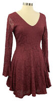 AMERICAN RAG size M burgundy lined lace bell sleeve double-V fit&flare dress