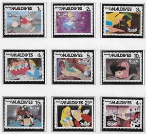 MALDIVES , 1980 , DISNEY , ALICE IN WONDERLAND , SET OF 9 STAMPS PERF , MNH