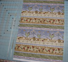 1 yd Gardening Quilt Cotton Fabric Rabbit bunny hen Zinnia's garden rjr sewing