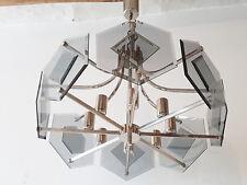 IMPORTANT LUSTRE PLAFONNIER VINTAGE EDITION SISCHE 1970 SPACE AGE VERRE & CHROME