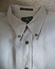 Men's Club Room Long Sleeved Dress Shirt ~Size L ~ Cream & Green Tiny Checked