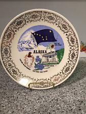 Souvenir Plate Alaska 1980 State Bird Tree Flower Mt McKinley Gov's Mansion
