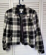 Women's PENDLETON Zip Jacket Sz 12 Black White Plaid Virgin Wool Lined