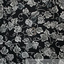 BonEful Fabric FQ Cotton Quilt Black Gray Grape Leaf Toile Vine*yard Small Xmas
