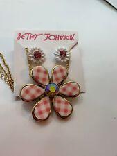 Betsey Johnson Summer Picnic Gingham Flower Necklace & Earrings Pink Bb1dd