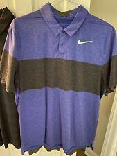 Nike Golf Dri Fit Polo Shirt Mens Size XL Blue/Black Modern Fit Golf Polo