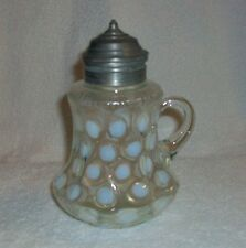 EAPG White Coin Spot Coin Dot Syrup Pitcher w/ Pewter Lid Dated PAT. JUL.15.84