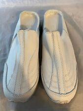 NEW Mushrooms White Slip On Mules Sneakers, Leather, Women Size 9 Wide