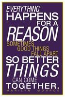 Marilyn Monroe Everything Happens For A Reason Purple inch Poster 24x36 inch