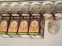 Ampoule globe décor givré ambre PAULMANN SUDRON CROZE 25W E27 NEUVE
