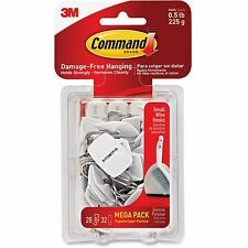 Command General Purpose Hooks 0.5lb Capacity Wire White 28 Hooks 32 Strips/Pack