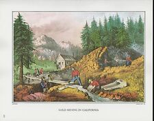 """1972 Vintage Currier & Ives """"GOLD MINING IN CALIFORNIA"""" Color Print Lithograph"""