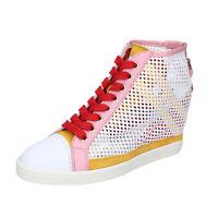 Chaussures Femme HOGAN REBEL 37 Ue Baskets Blanc Paillettes Rose Tissu BK651-37