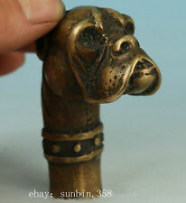 Fierce Asian Chinese Old Bronze Hand Carved Dog Statue Walking Stick Head