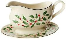 Lenox Holiday Entertaining Gravy Boat & Stand ~ Holly Berries Gold New in Box