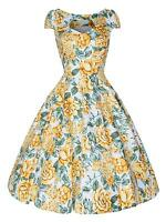 Ladies 50s Vintage Yellow Spring Floral Cut Out Neckline Rockabilly Dress 8 - 18