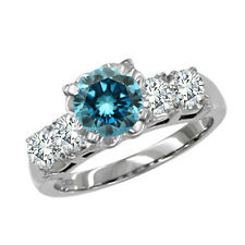 0.45 Carat Blue SI2 5 Stone Round Diamond Engagement Ring 14K White Gold