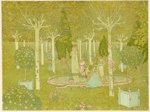 """1897 original stone lithograph – L'Estampe Moderne """"Le Parc"""", Gaston de Latenay"""