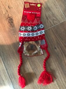Red Grey Knitted Hat Dog Cat Pet Funny Cute Winter Woolly Gift Fancy dress up