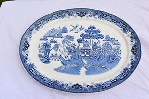 Enourmous Ocean Sakakibara Japan Blue/White Porcelain Platter 47cm x 35cm Superb