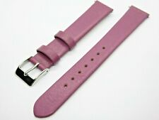 Purple Leather 16mm Watch Strap Band with Silver Buckle