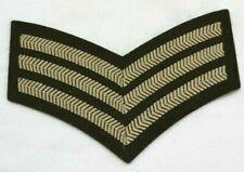 "British Sgt sergeant stripes Patch Od and tan 6 1/4""W x 4 1/4"" each E9404"