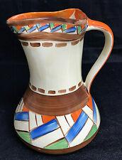 More details for myott son & co hand-painted pinch jug art deco orange & blue geometric design