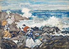 Rocks, Waves and Figures by Maurice Brazil Prendergast 60cm x 43cm Art Print