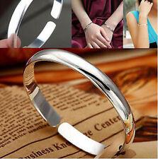Plain 925 Sterling Silver Alloy Fashion Classic Bangles Bracelet Jewellery Women