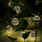 Solar Power LED String Fairy Moroccan Ball Lights #C Garden Tree Christmas Decor