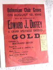ANTIQUE FLIER + TICKET BOHEMIAN CLUB GROVE SPECTACLE GOLD MAYNARD DIXON 1916