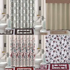15Pc Shower Curtain Matching Fabric Hooks Bath Mats Rugs Complete Bathroom Set