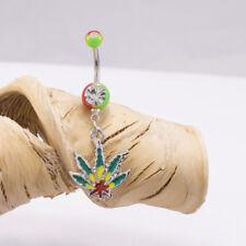 Belly Button Rings Marijuana Pot Leaf Dangle 14G  1.6mm Rasta