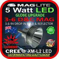 MAGLITE UPGRADE LED 3-6 C&D CREE 5W BULB GLOBE for TORCH FLASHLIGHT 3.6-9V 800lm