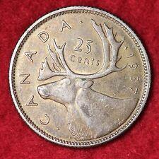 1937 Canada Twenty Five Cents CHOICE AU FREE SHIPPING E289 H
