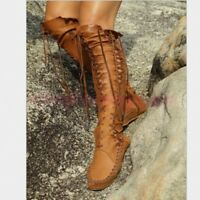 Roman Fashion Womens Shoes Flats Lace Up Strappy Woven Knee High Boots Gladitor