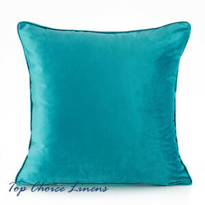 45*45cm Home Decor Sofa Lounge Solid Turquoise Velvet Piping Trim Cushion Cover