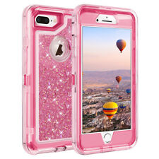 For iPhone  X 7 8 Plus 6 6S Plus Glitter Liquid Defender Case Clip fits Otterbox