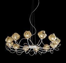 Lampadario contemporaneo design moderno bianco e oro BELL gomitoli 3011/L12L
