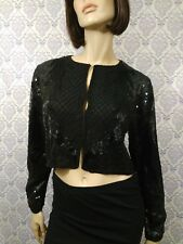 VTG Art Deco Beaded Jacket Blouse Black Silk Sequined Cropped Bolero Womens S